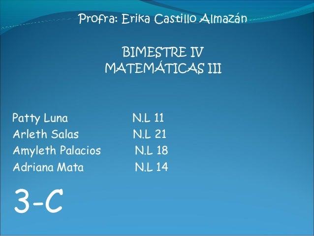 Profra: Erika Castillo Almazán                     BIMESTRE IV                   MATEMÁTICAS IIIPatty Luna            N.L ...