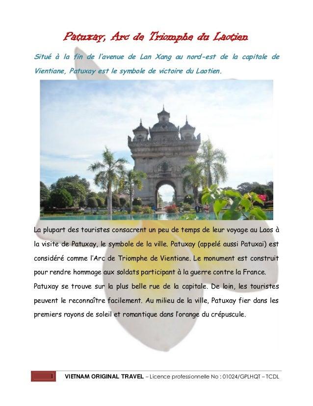 Patuxay, Arc de Triomphe du Laotien Situé à la fin de l'avenue de Lan Xang au nord-est de la capitale de Vientiane, Patuxa...