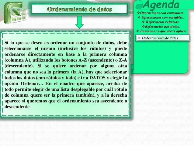 Agenda  Operaciones con constantes.   Operaciones con variables.   Referencias relativas.  Referencias absolutas.   F...