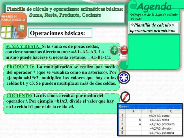 Operaciones básicas:  SUMA Y RESTA: Si la suma es de pocas celdas,  conviene sumarlas directamente: =A1+A2+A3. Lo  mismo p...
