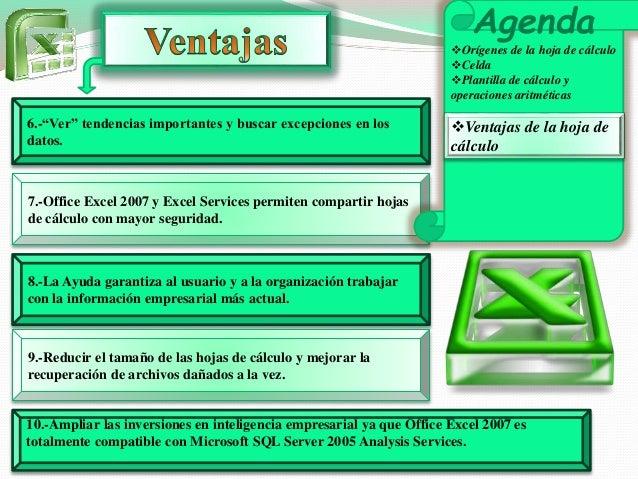 """6.-""""Ver"""" tendencias importantes y buscar excepciones en los  datos.  7.-Office Excel 2007 y Excel Services permiten compar..."""