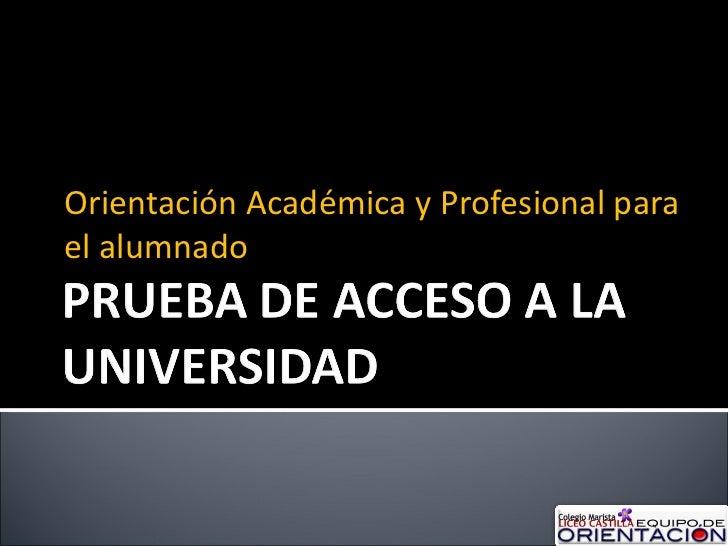 Orientación Académica y Profesional para el alumnado