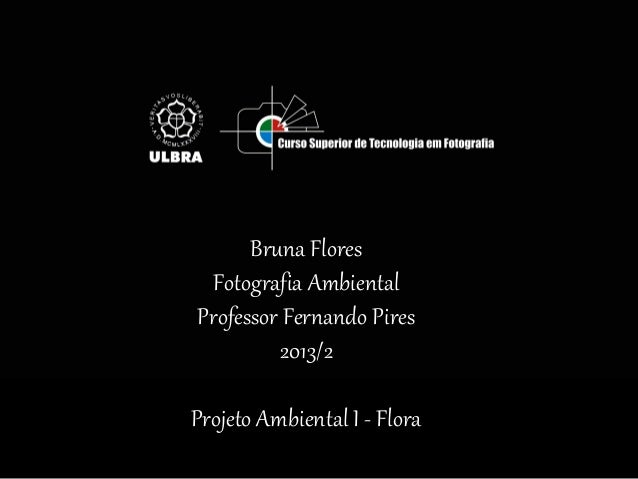 Bruna Flores Fotografia Ambiental Professor Fernando Pires 2013/2 Projeto Ambiental I - Flora