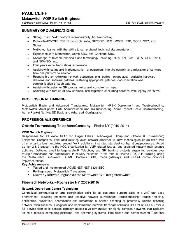 Paul cliff2014 voip resume