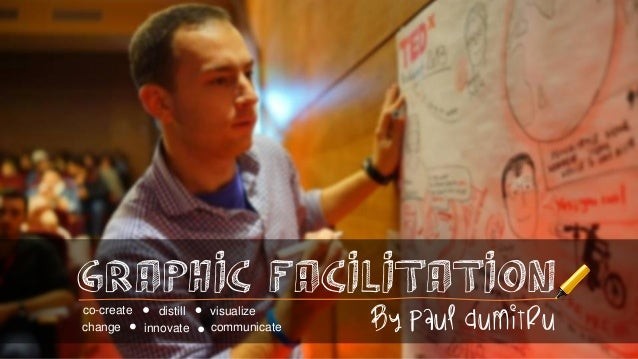 Graphic FACIlitation co-create distill change innovate  visualize communicate  by Paul Dumitru
