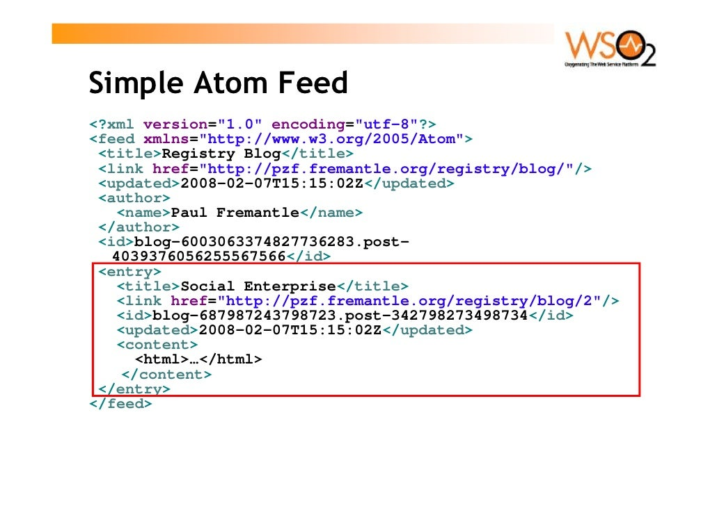 Simple Atom Feed <?xml version=quot;1.0quot; encoding=quot;utf-8quot;?> <feed xmlns=quot;http://www.w3.org/2005/Atomquot;>...