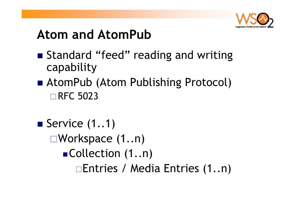 "Atom and AtomPub  Standard ""feed"" reading and writing  capability  AtomPub (Atom Publishing Protocol)    RFC 5023   Servic..."