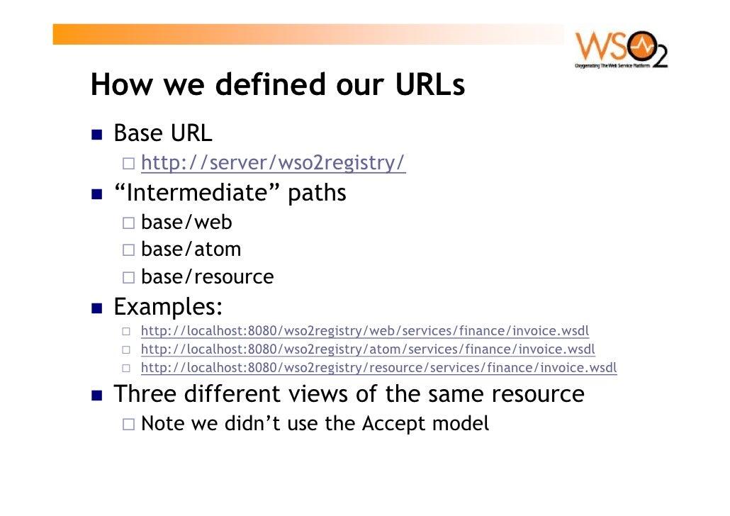 "How we defined our URLs  Base URL    http://server/wso2registry/  ""Intermediate"" paths    base/web    base/atom    base/re..."