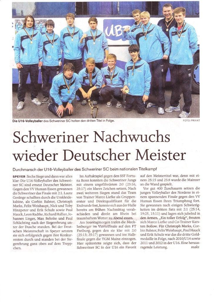 Die U16-Volleyballer des Schweriner SC holten den dritten Titel in Folge                                            FOTO:P...