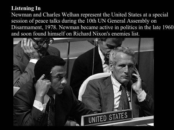 Listening In Newman and Charles Welhan represent the United States at a special session of peace talks during the 10th UN ...