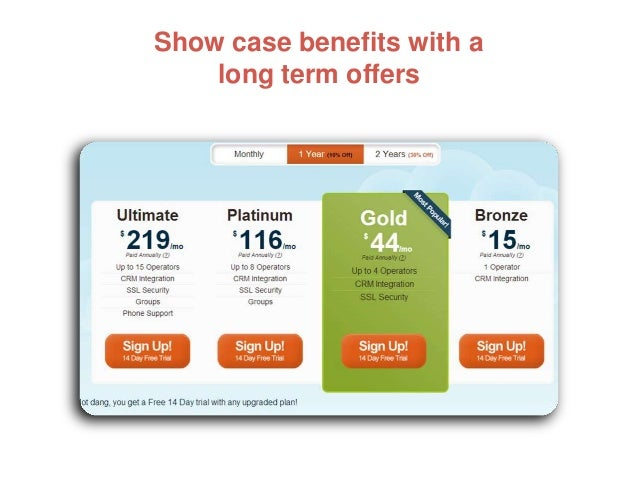 Show case benefits with a long term offers