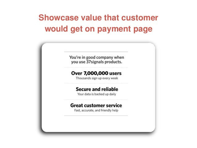 Showcase value that customer would get on payment page