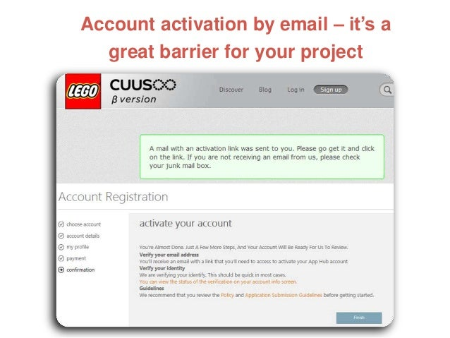 Account activation by email – it's a great barrier for your project