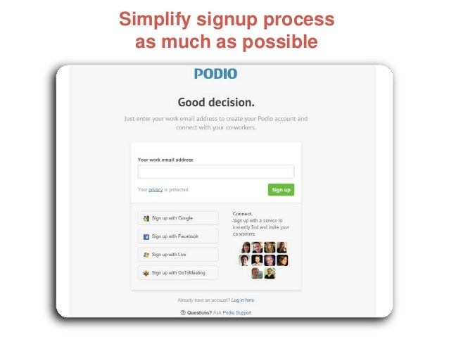 Simplify signup process as much as possible