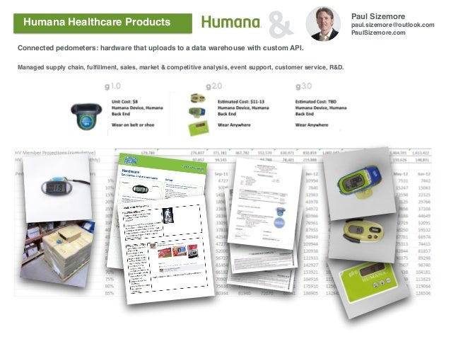 Paul Sizemore paul.sizemore@outlook.com PaulSizemore.com &Humana Healthcare Products Connected pedometers: hardware that u...