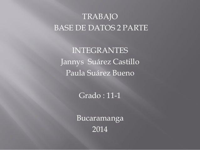 TRABAJO BASE DE DATOS 2 PARTE INTEGRANTES Jannys Suárez Castillo Paula Suárez Bueno Grado : 11-1 Bucaramanga 2014