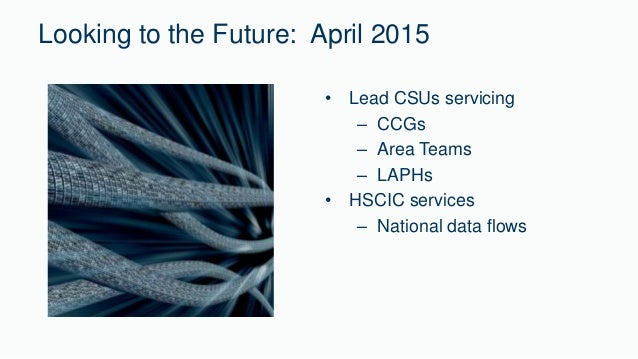 Looking to the Future: April 2015  • Lead CSUs servicing  – CCGs  – Area Teams  – LAPHs  • HSCIC services  – National data...