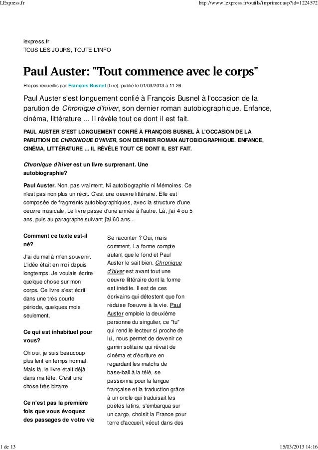 lexpress.fr TOUS LES JOURS, TOUTE L'INFO Propos recueillis par François Busnel (Lire), publié le 01/03/2013 à 11:26 Paul A...