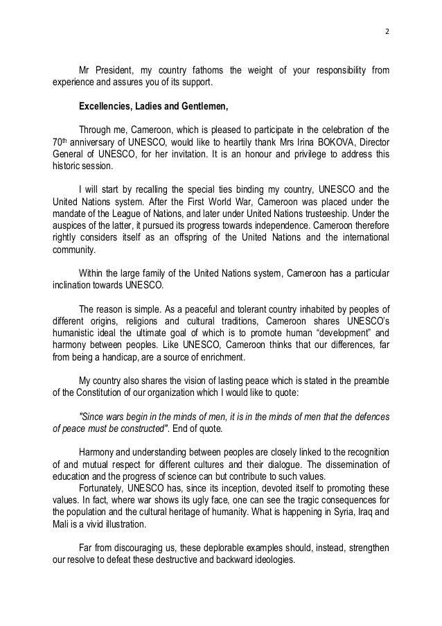 Paul Biya Cameroon President Speech Leadership Forum Unesco