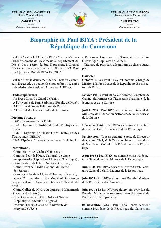 Paul biya cameroun dossier de presse sur la - Cabinet de la presidence de la republique ...