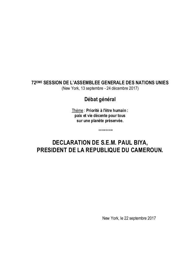 72EME SESSION DE L'ASSEMBLEE GENERALE DES NATIONS UNIES (New York, 13 septembre - 24 décembre 2017) Débat général Thème : ...