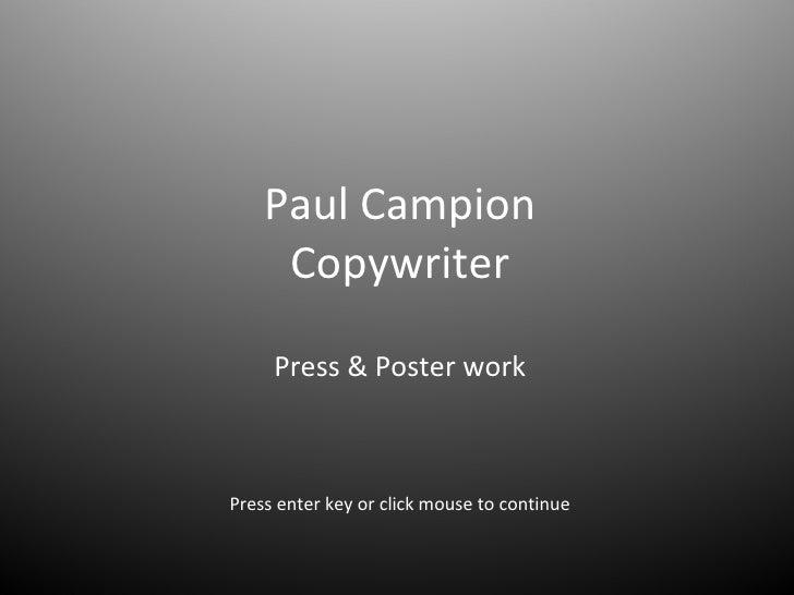 Paul Campion Copywriter Print work