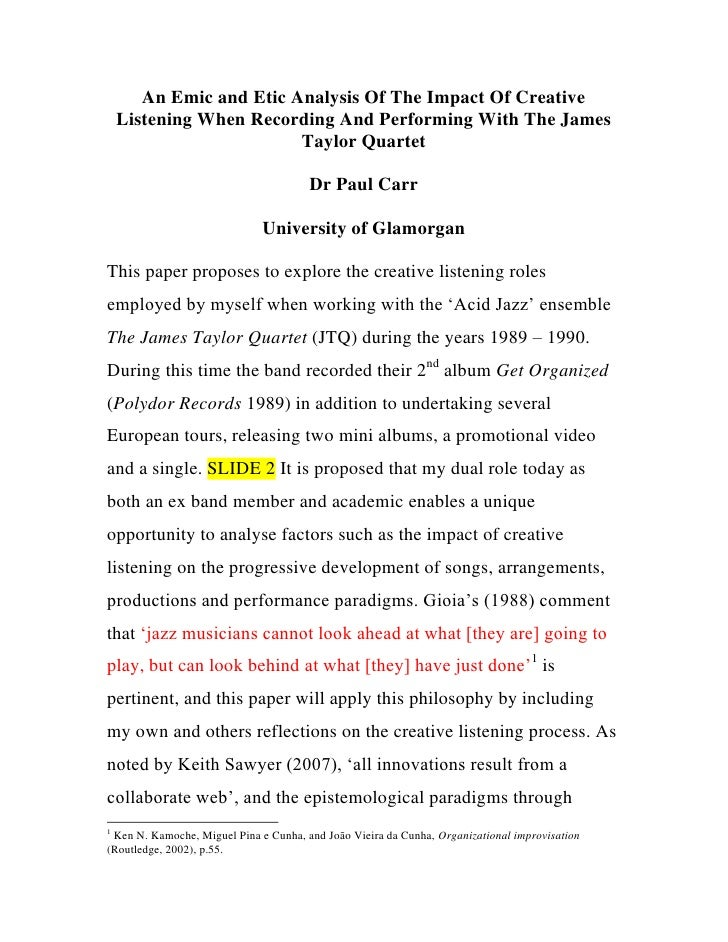 An Emic and Etic Analysis Of The Impact Of Creative Listening When Recording And Performing With The James Taylor Quartet ...