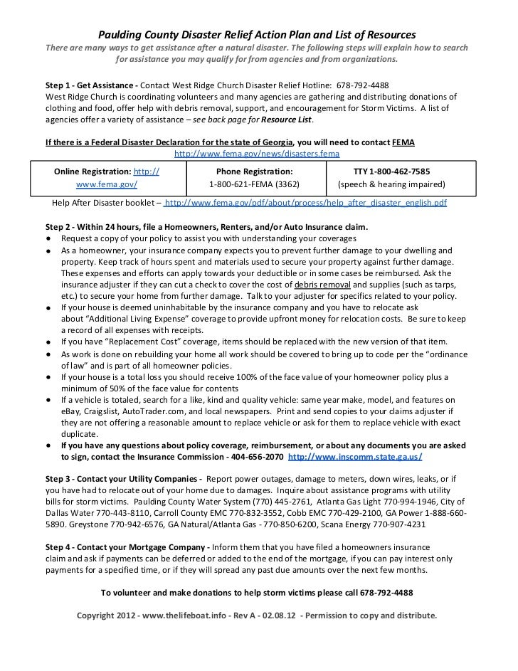Paulding County Disaster Relief Action Plan and List of ResourcesThere are many ways to get assistance after a natural dis...