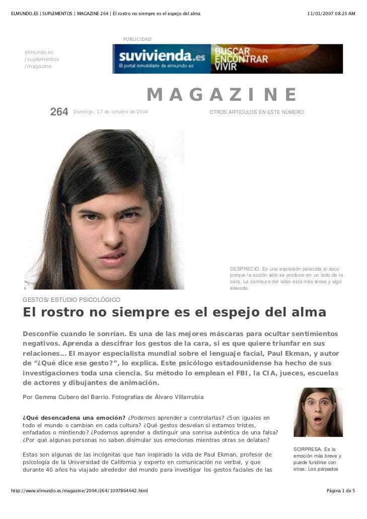 ELMUNDO.ES | SUPLEMENTOS | MAGAZINE 264 | El rostro no siempre es el espejo del alma                                      ...