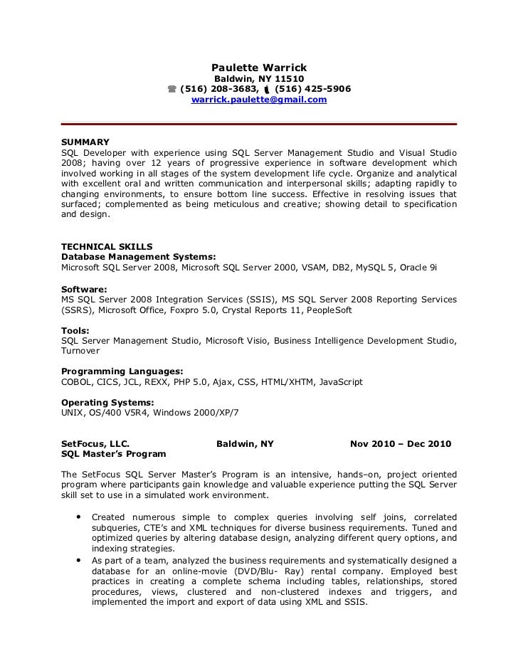 paulette warrick sql developer resume paulette warrick baldwin ny 11510 - Sql Developer Resume