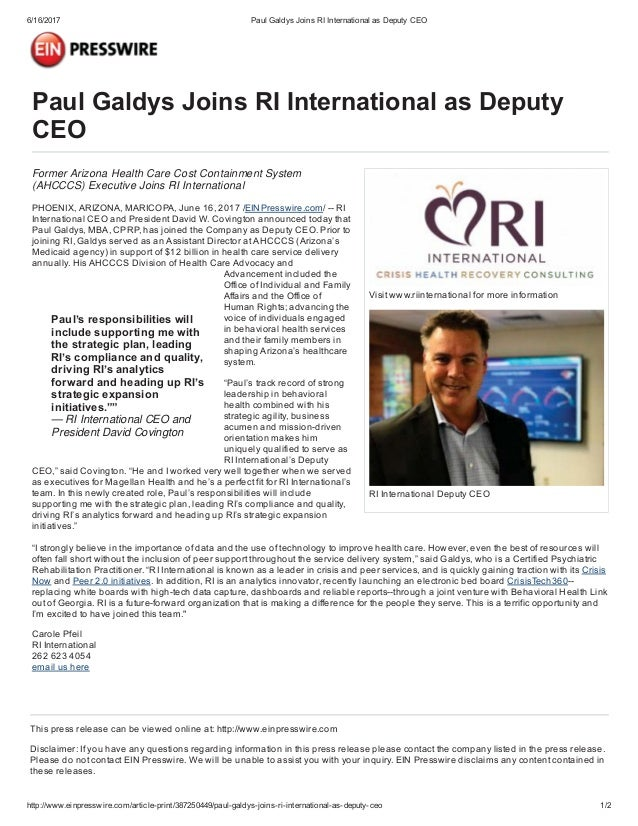 Paul Galdys joins RI International as Deputy CEO