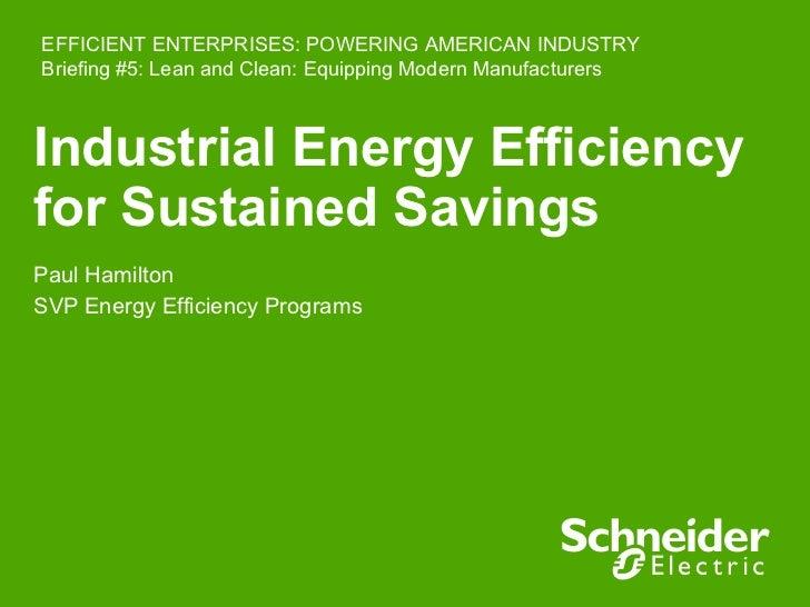 Industrial Energy Efficiency for Sustained Savings Paul Hamilton SVP Energy Efficiency Programs EFFICIENT ENTERPRISES: POW...