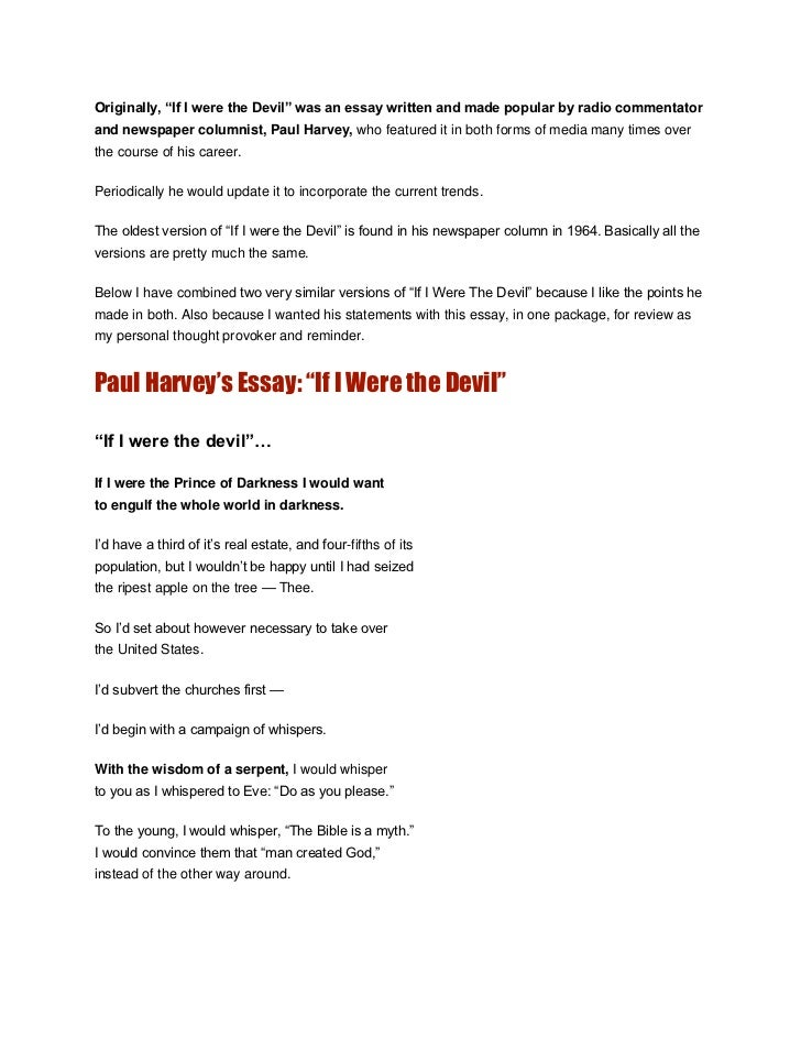 paul harvey essay if i were the devil
