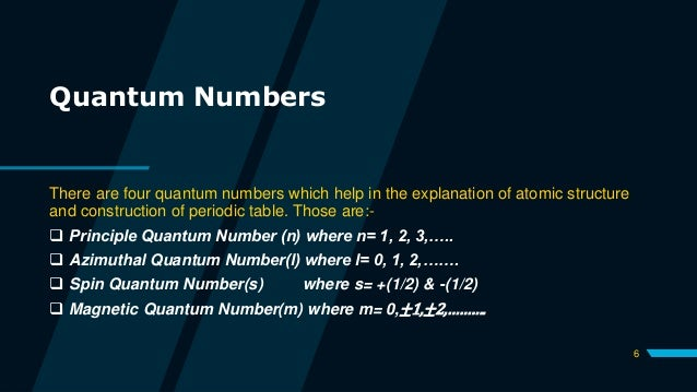 Quantum Numbers There are four quantum numbers which help in the explanation of atomic structure and construction of perio...