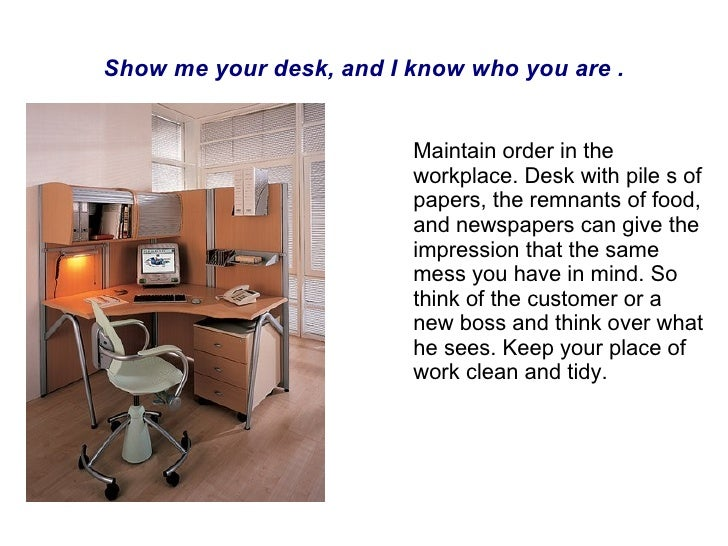 Show me your desk, and I know who you are . Maintain order in the workplace. Desk with pile s of papers, the remnants of f...