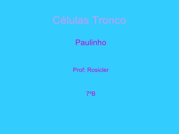Células Tronco   Paulinho Prof: Rosicler 7ºB