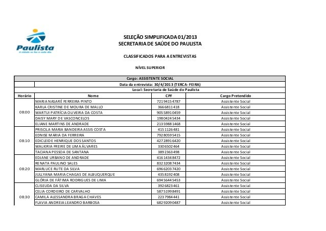 Horário Nome CPF Cargo PretendidoMARIA NASARÉ FERREIRA PINTO 72194154787 Assistente SocialKARLA CRISTINE DE MOURA DE MALLO...