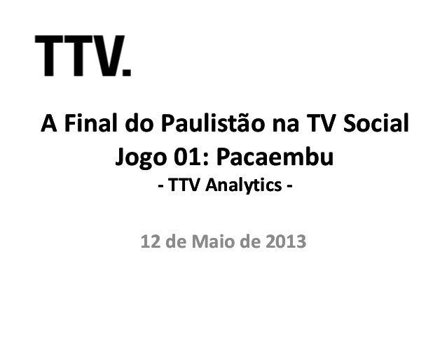 A Final do Paulistão na TV SocialA Final do Paulistão na TV SocialJogo 01: PacaembuJogo 01: Pacaembu-- TTVTTV AnalyticsAna...