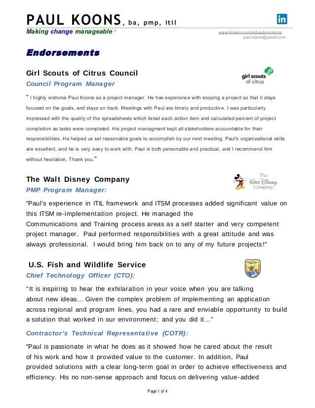 PAUL KOONS, b a , pmp , i t i l  Making change manageable ® www.linkedin.com/in/paulkoonspmp  paul.koons@gmail.com  Endors...