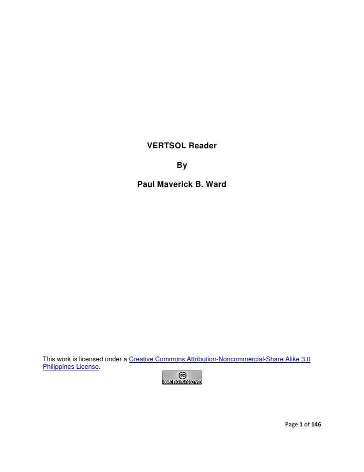 VERTSOL Reader                                             By                                 Paul Maverick B. Ward     Th...