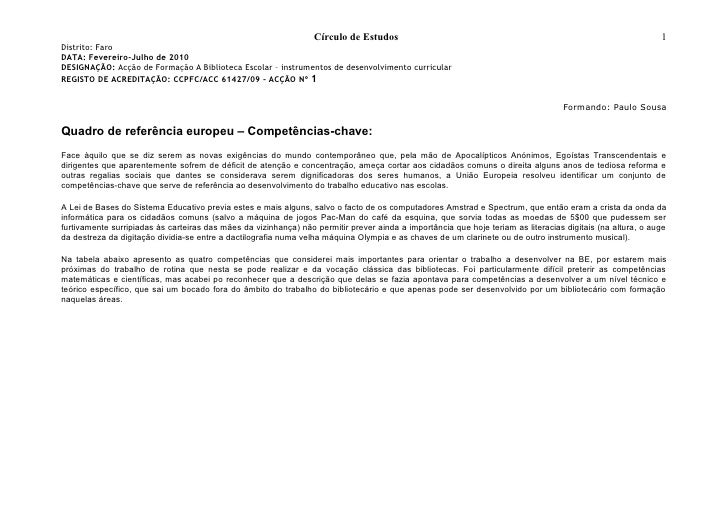 Círculo de Estudos                                                                         1 Distrito: Faro DATA: Fevereir...