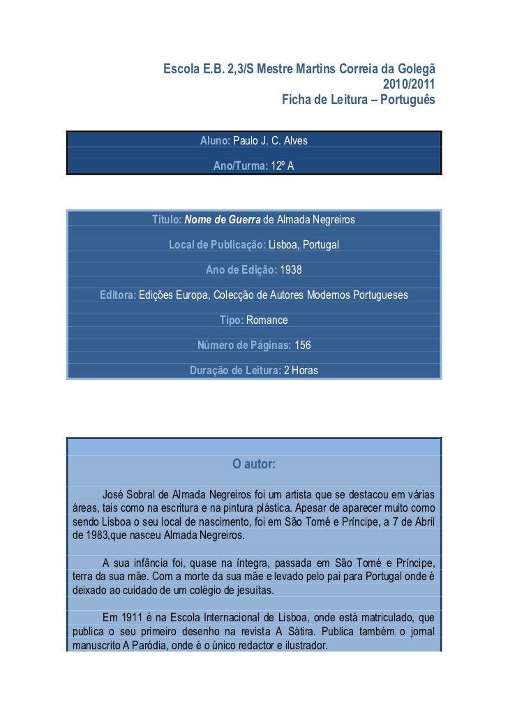 Escola E.B. 2,3/S Mestre Martins Correia da Golegã                                                             2010/2011  ...