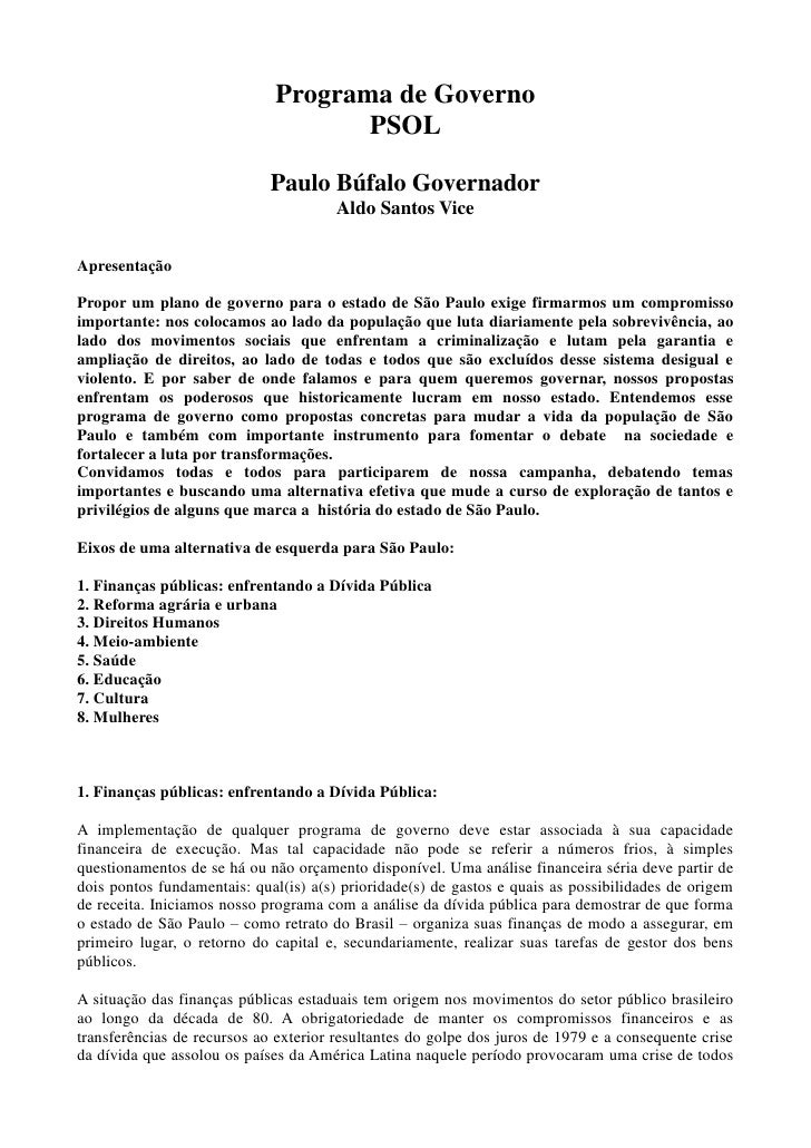 Programa de Governo                                     PSOL                               Paulo Búfalo Governador        ...
