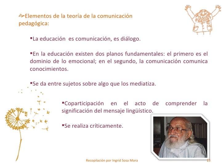 <ul><ul><li>Elementos de la teoría de la comunicación pedagógica: </li></ul></ul><ul><ul><ul><li>La educación  es comunica...