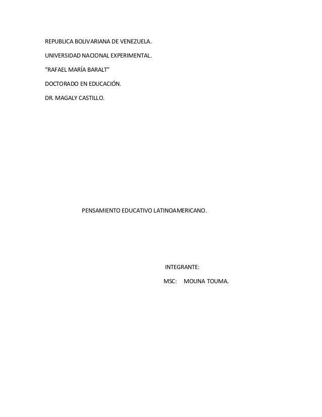 """REPUBLICA BOLIVARIANA DE VENEZUELA.UNIVERSIDAD NACIONAL EXPERIMENTAL.""""RAFAEL MARÍA BARALT""""DOCTORADO EN EDUCACIÓN.DR. MAGAL..."""