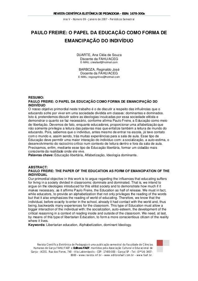 REVISTA CIENTÍFICA ELETÔNICA DE PEDAGOGIA – ISSN: 1678-300x Ano V – Número 09 – Janeiro de 2007 – Periódicos Semestral  PA...
