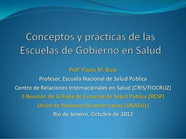 Prof. Paulo M. Buss         Profesor, Escuela Nacional de Salud PúblicaCentro de Relaciones Internacionales en Salud (CRIS...