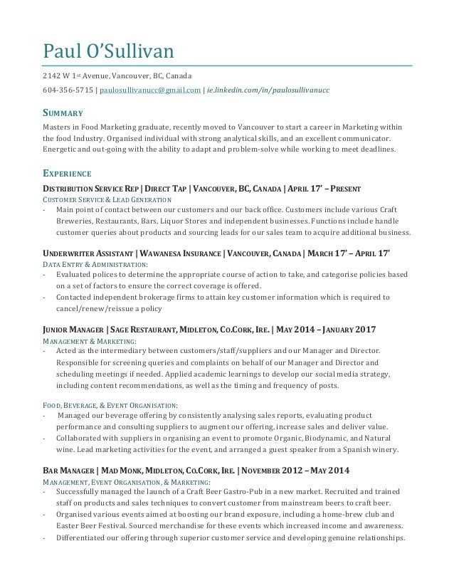 Paul o\'sullivan resume