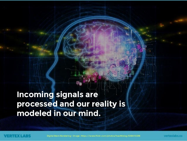 Digital Brain Rendering • Image: https://www.flickr.com/photos/healthblog/8384110298 Incoming signals are processed and ou...