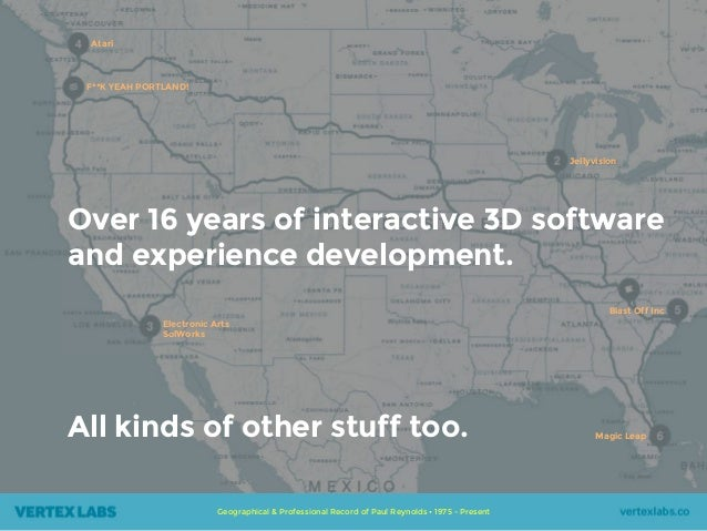 Geographical & Professional Record of Paul Reynolds • 1975 - Present Over 16 years of interactive 3D software and experien...
